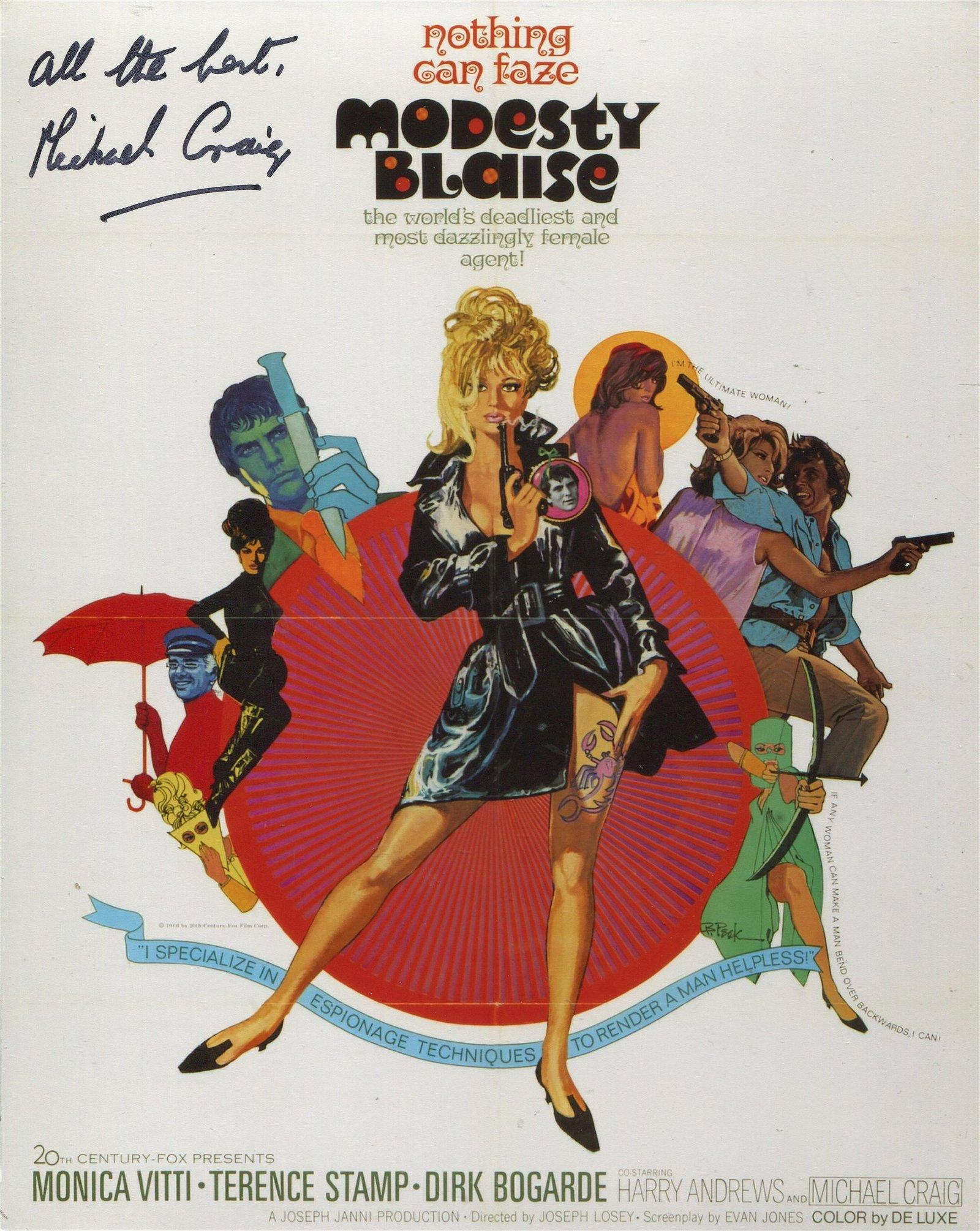Modesty Blaise Cult 1960 s Spy Movie 8x10 Photo Signed