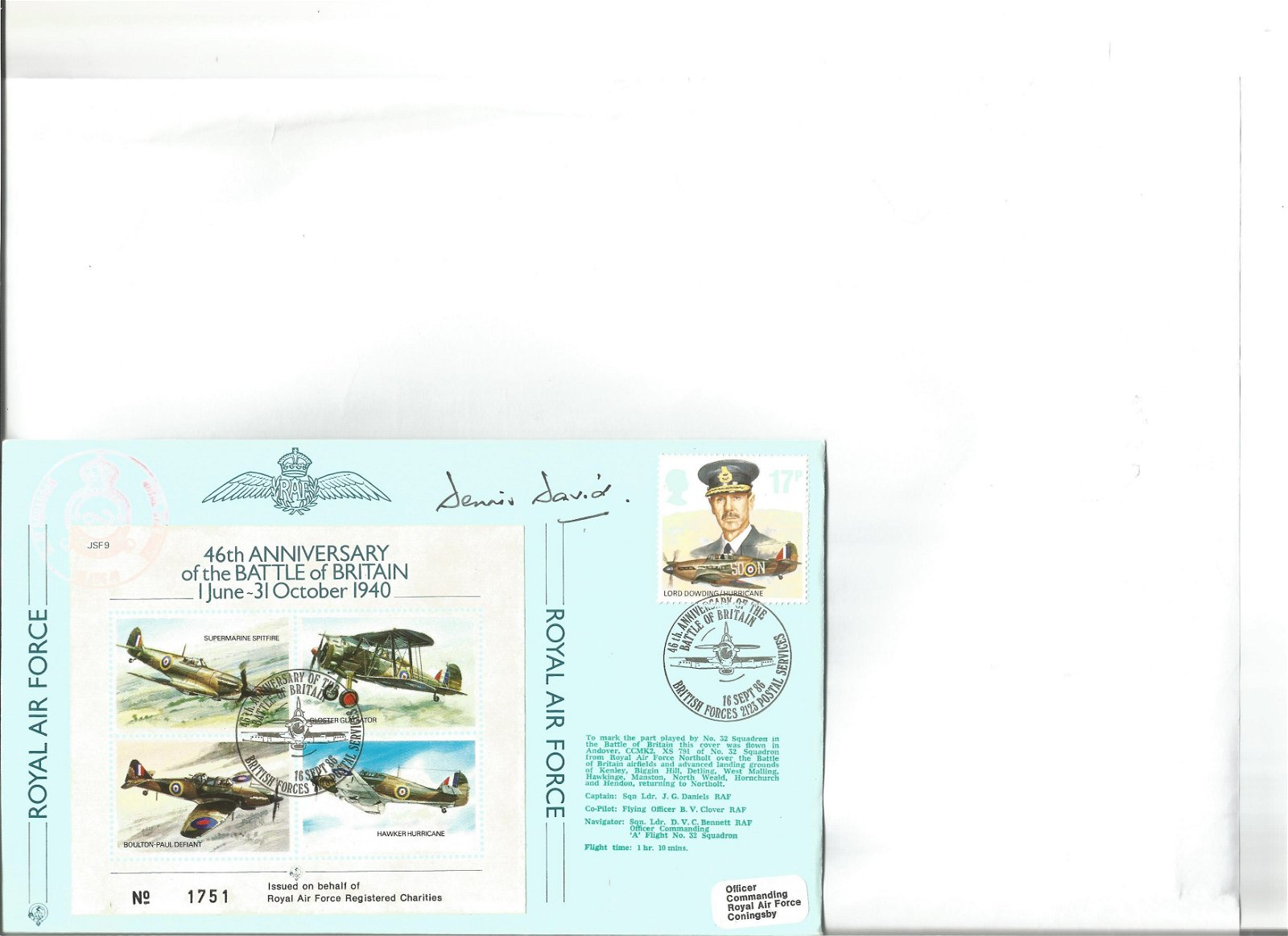 Grp Capt Denis David signed Joint Service Fighter cover