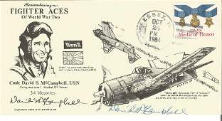 Top WW2 US Navy fighter ace David McCampbell signed