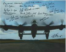 World War Two 10X8 Lancaster colour photo signed by 14