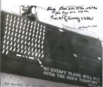 World War Two 10x8 Lancaster bw photo signed by 5