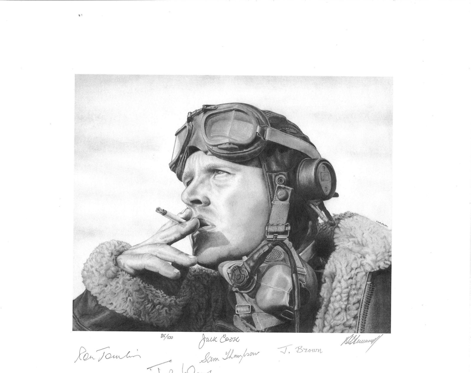 World War Two Pencil Print 15X13 The Airman signed by 5