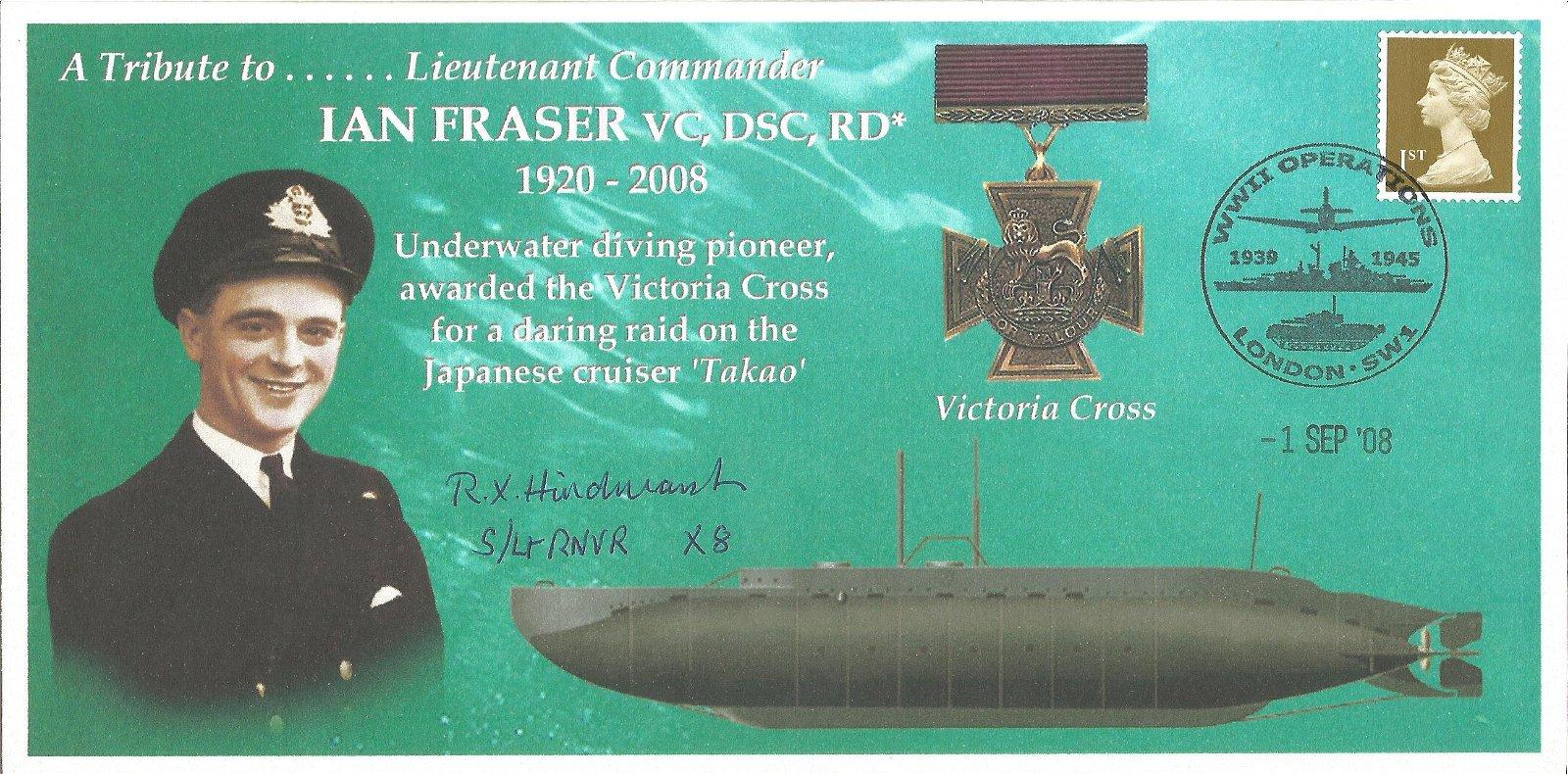 Lt Roland Hindmarsh WW2 signed Ian Fraser VC Navy