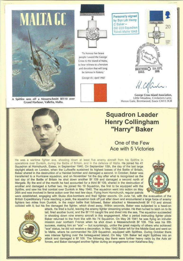 Squadron Leader Henry Collingham Harry Baker signed