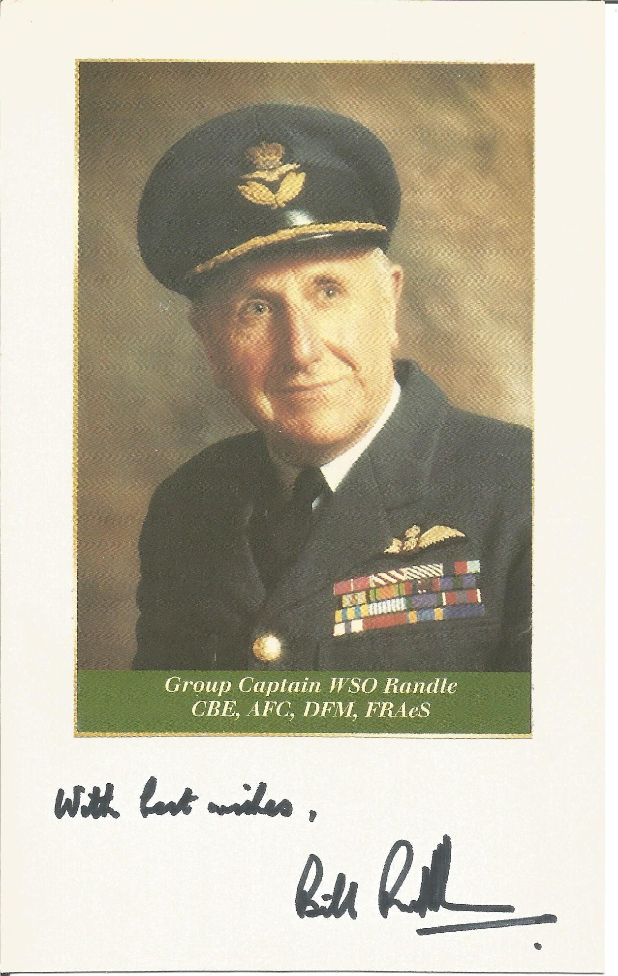 Grp Capt WSO Randle CBE AFC DFM FRAeS signature piece