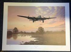 World War Two print 20x27 titled Lancaster Dawn signed
