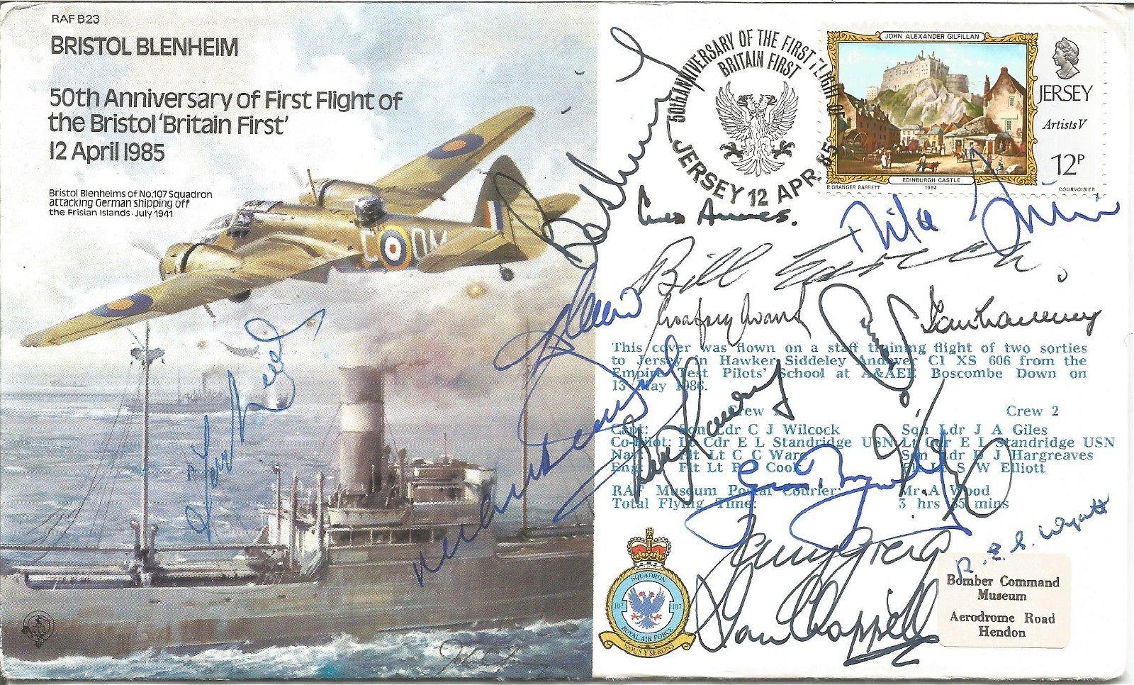 Multiple Cricket legends signed RAF bomber cover.