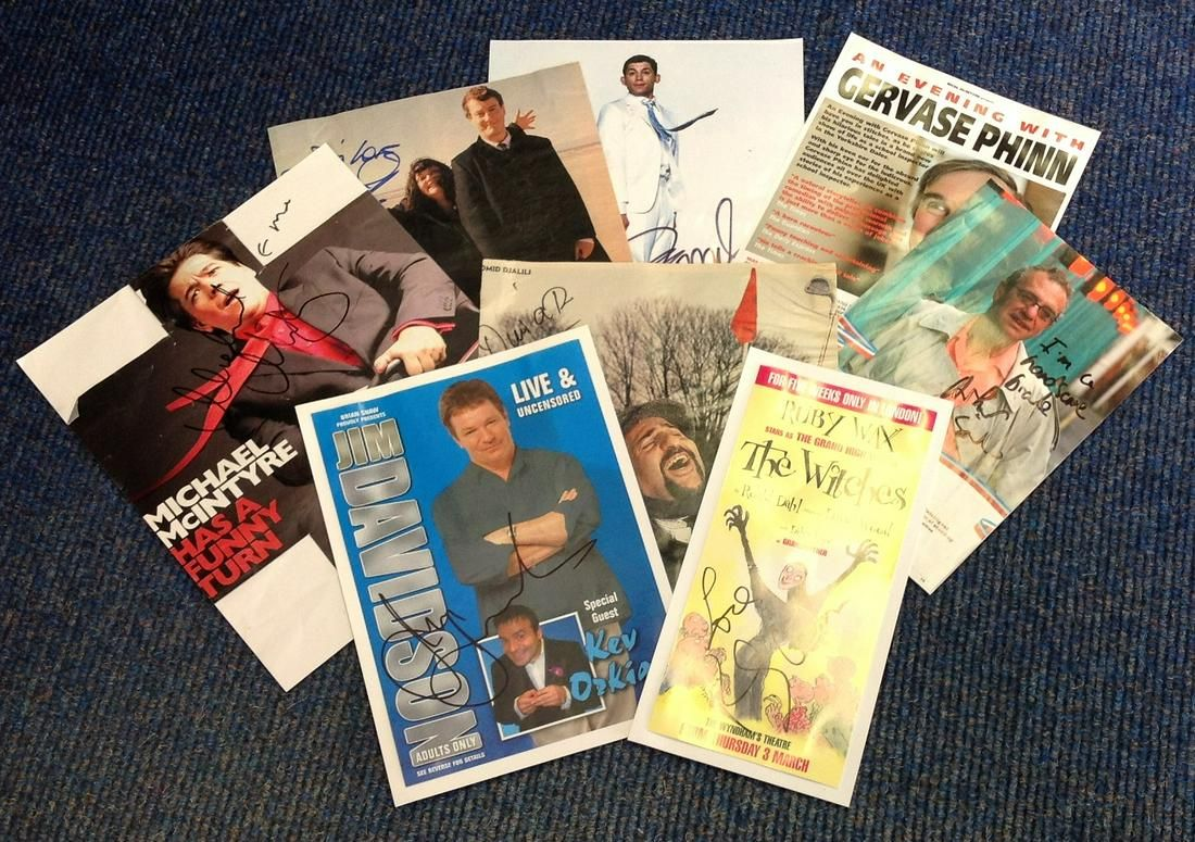 Comedy signed collection 8 items assorted flyers and