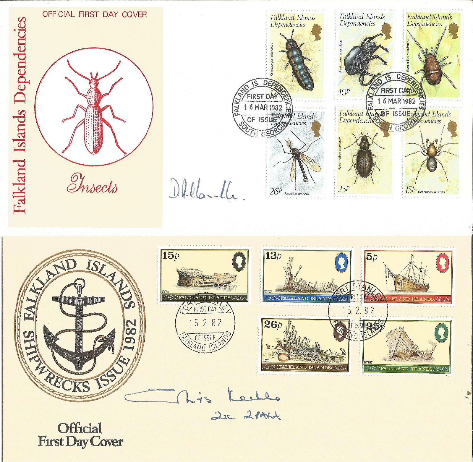 Signed Falkland Islands cover collection 4 covers
