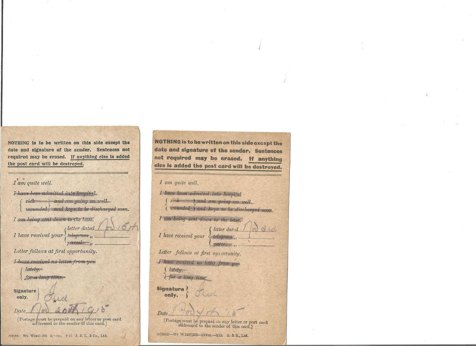 1916 Great War Field Service Postcards Three cards