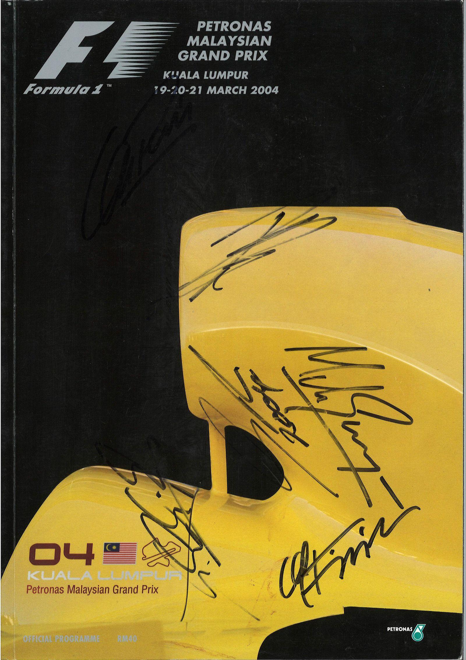 Multi signed Malaysian Grand Prix 2004 programme