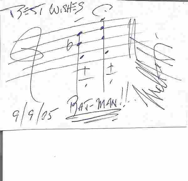 Neil Hefti signed white card with music score added.