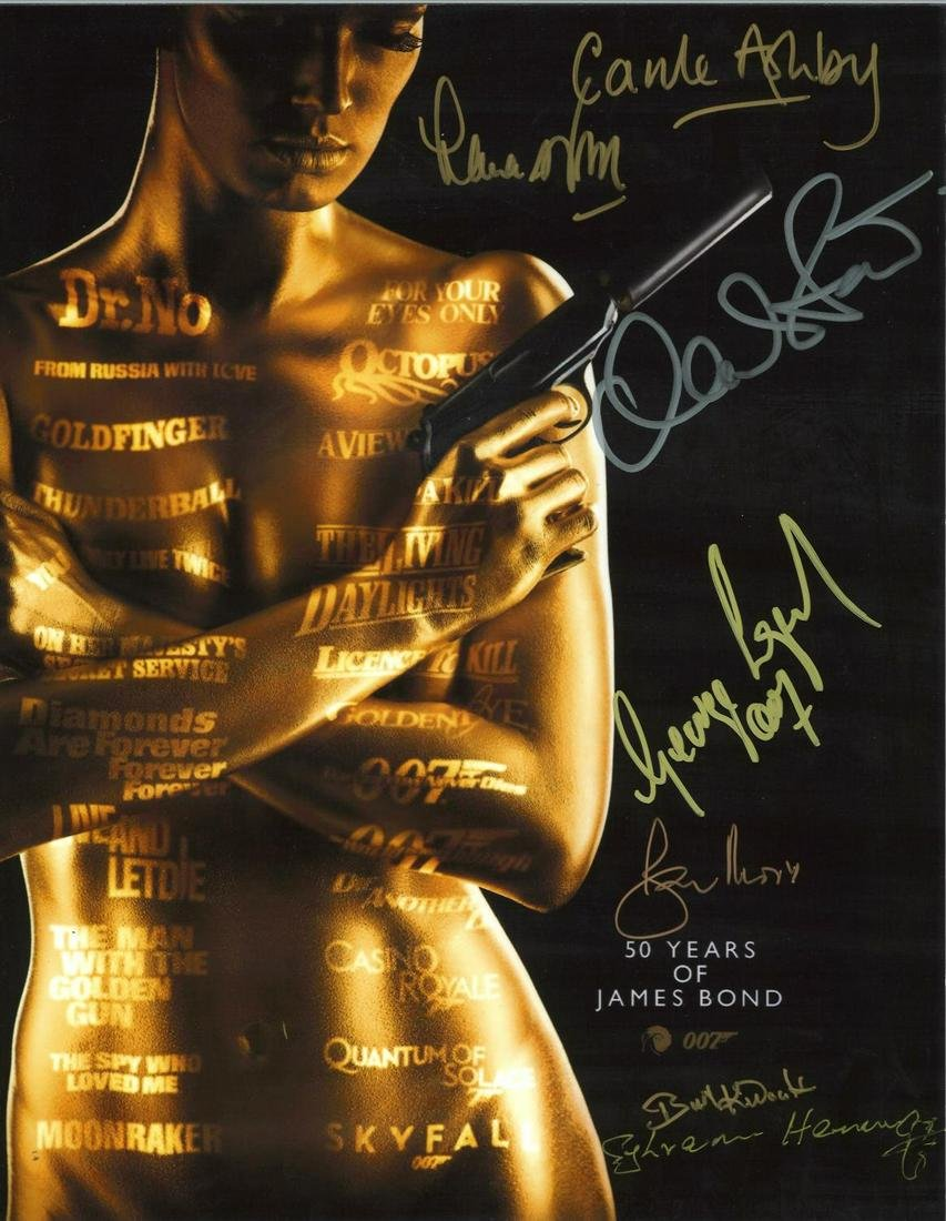Multi signed 50 years of James Bond 14x11 colour photo.