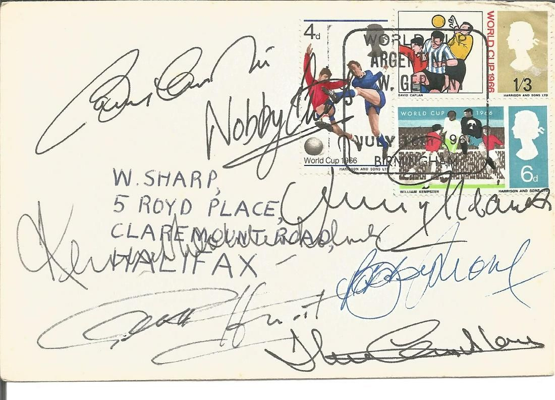 Football World Cup 1966 FDC signed by 6 of the