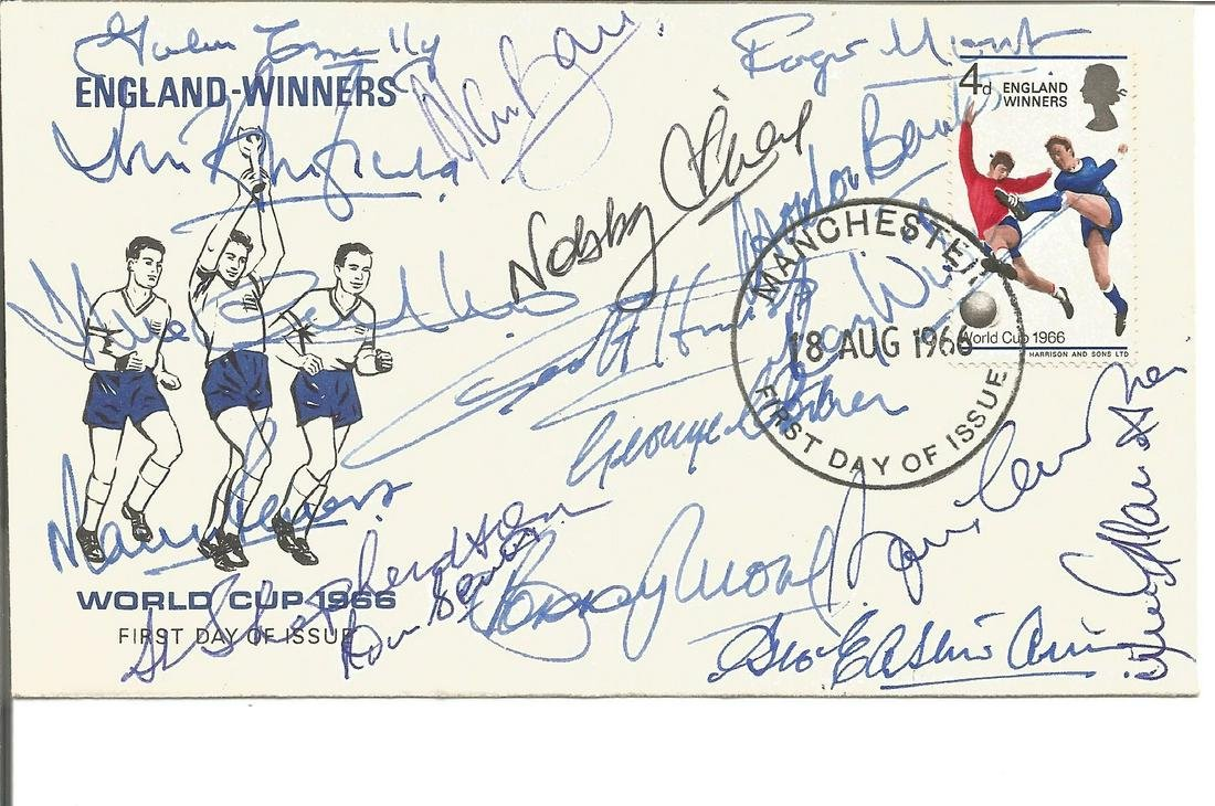 Football England Winners World Cup 1966 FDC signed by