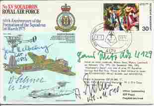 WW2 Luftwaffe aces multiple signed RAF cover No XV