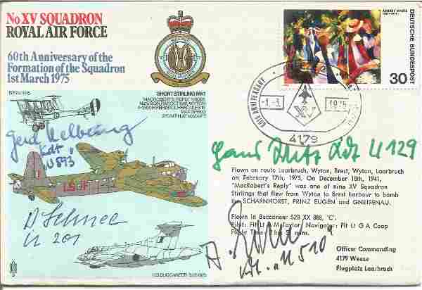 WW2 Luftwaffe aces multiple signed RAF cover. No XV