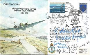 Rare Luftwaffe aces Multiple signed WW2 bomber cover
