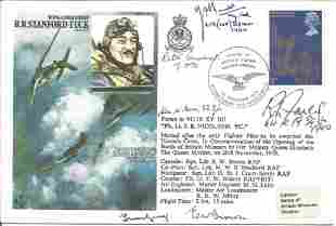 Six WW2 Battle of Britain pilots signed cover Wing