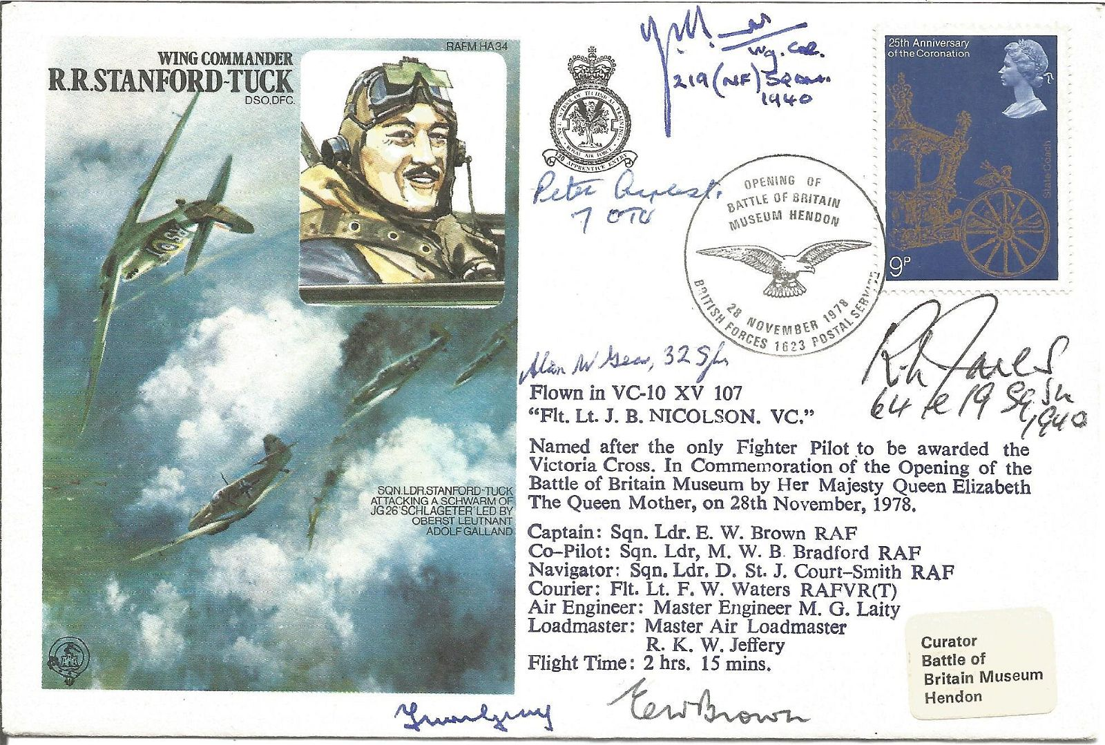 Six WW2 Battle of Britain pilots signed cover. Wing