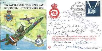 Nine WW2 aces VC winner signed cover. The Battle of