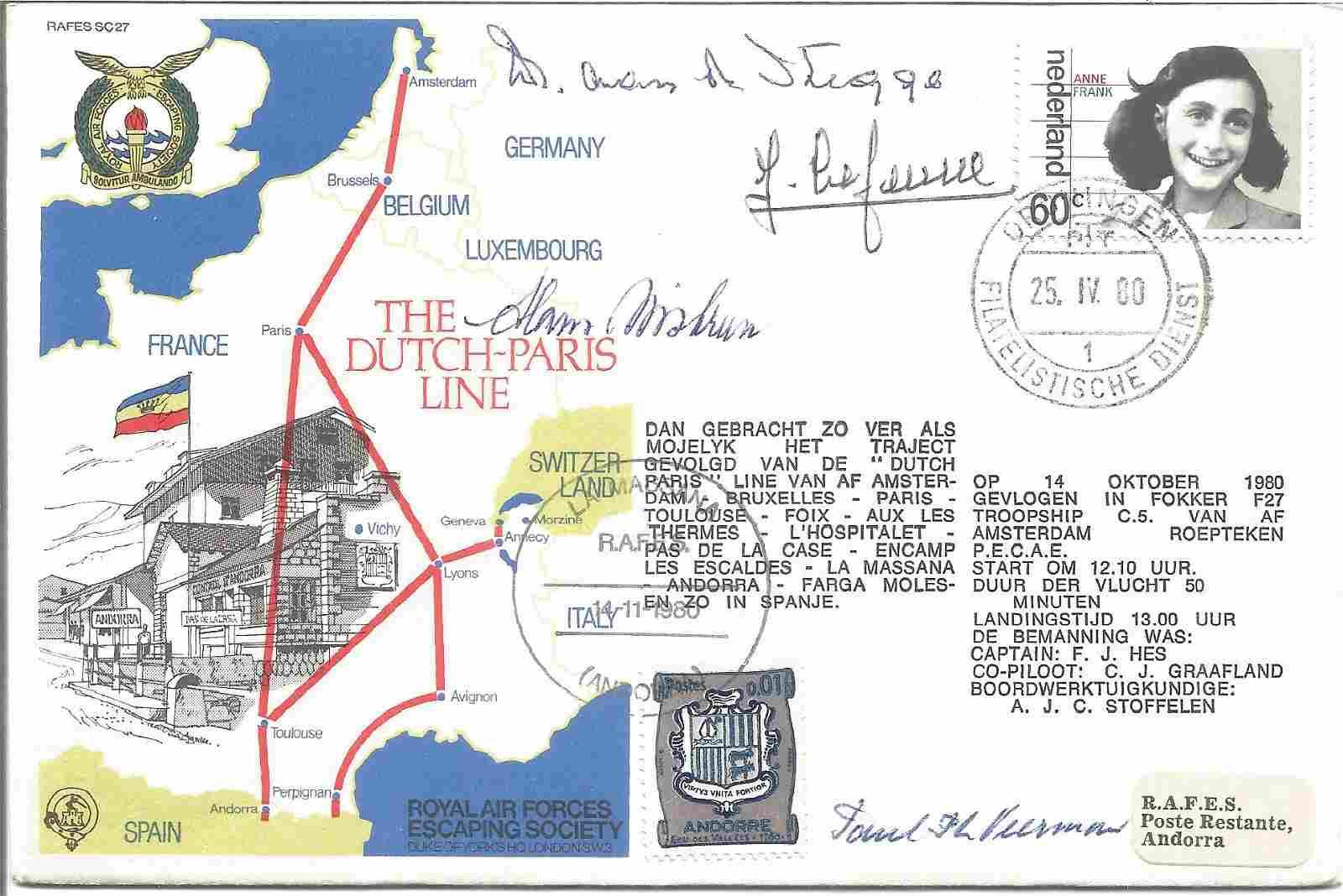 The Dutch - Paris Line RAFES signed RAF cover No 432 of