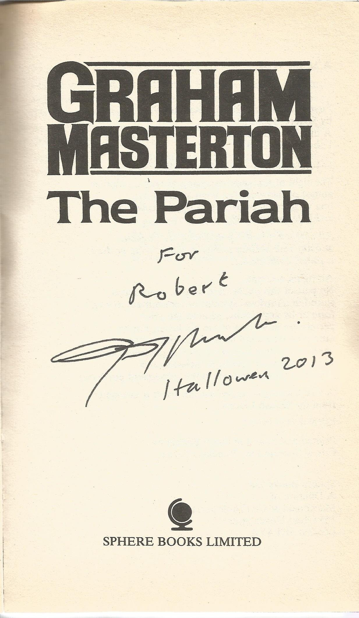 Graham Masterton signed book The Pariah Welcome to a