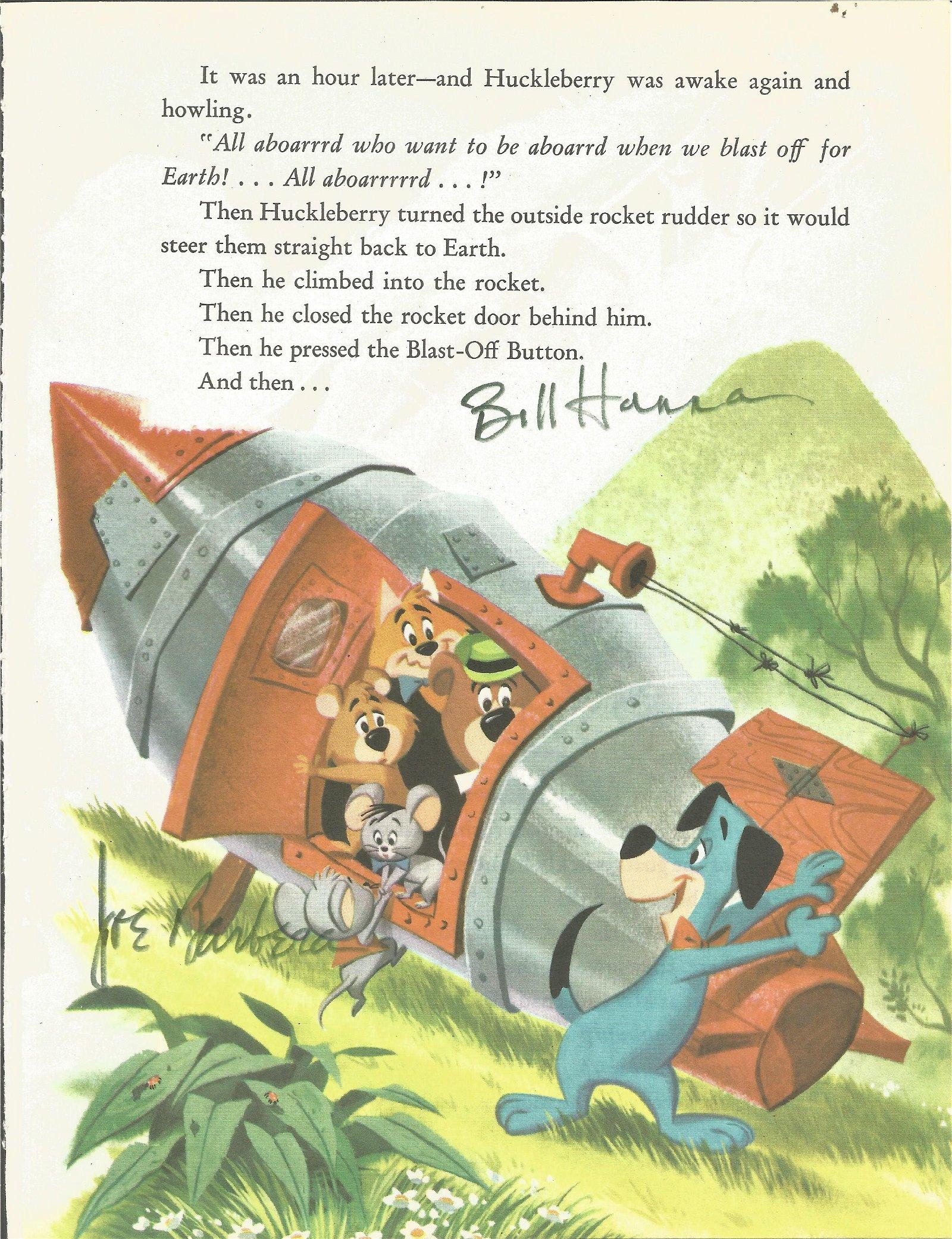 Bill Hanna and Joe Barbera signed animated book page.