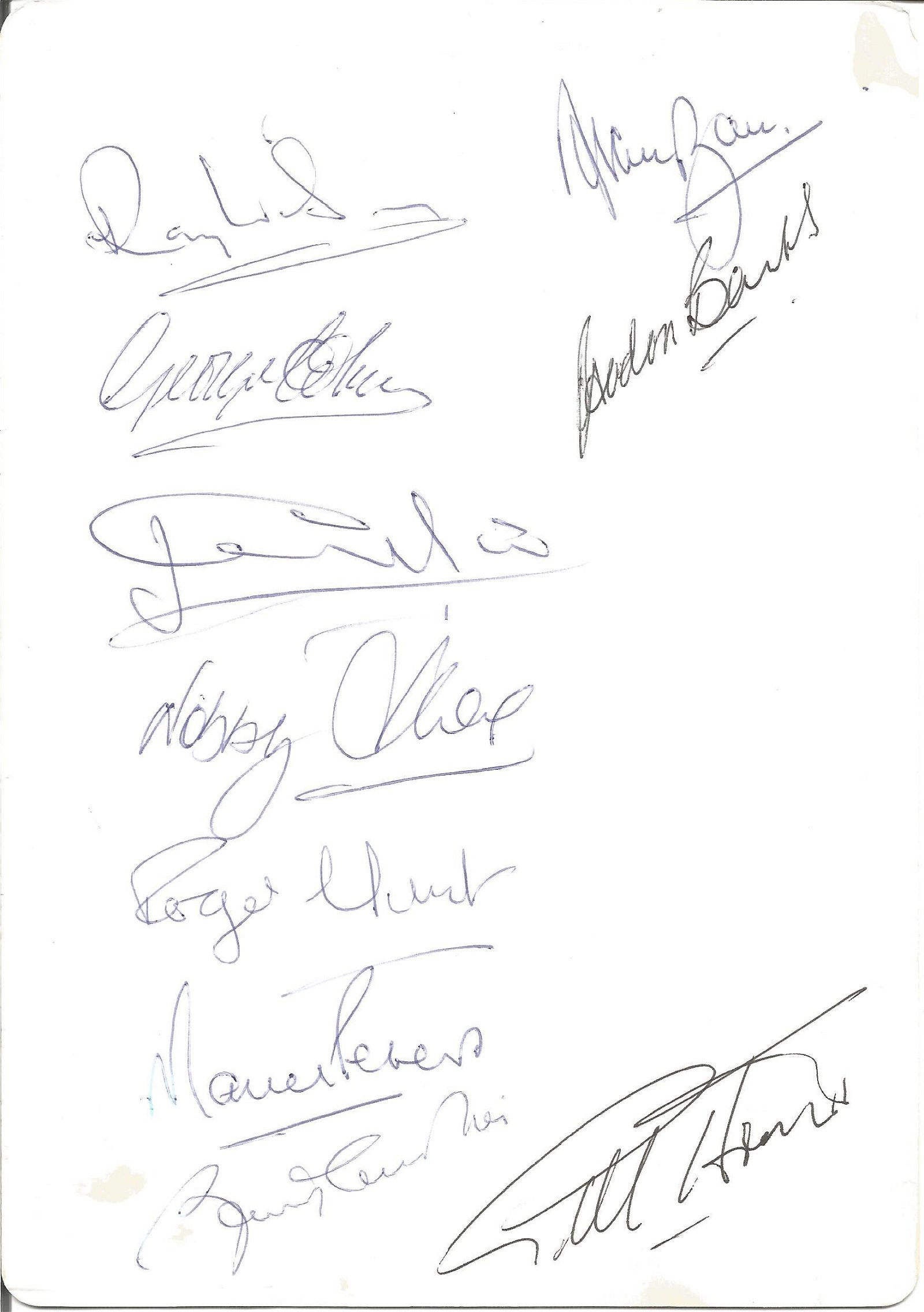 Multi signed lunch menu. Signed on reverse by 10 1966
