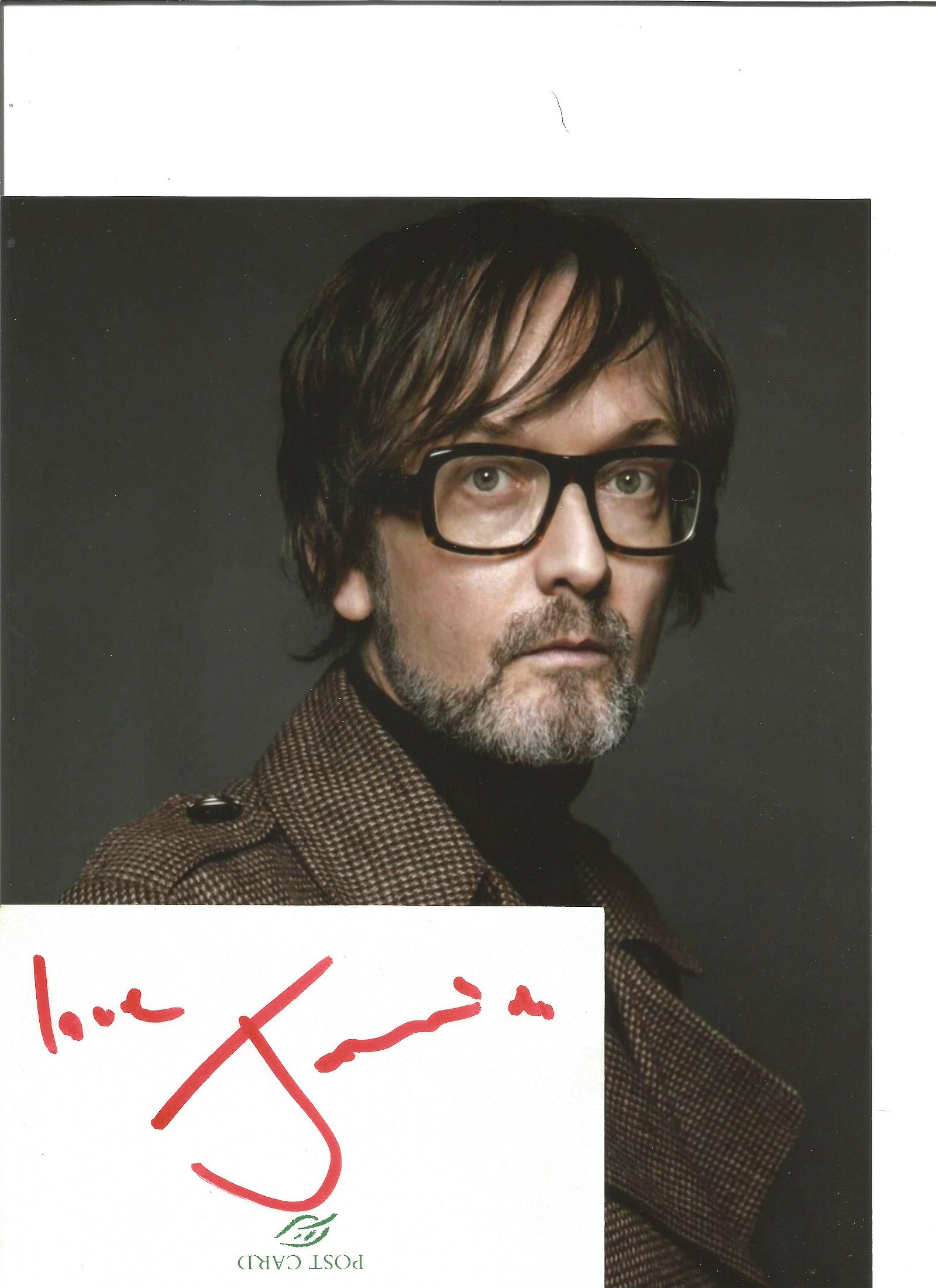 Jarvis Cocker signed white card with 10x8 colour photo.