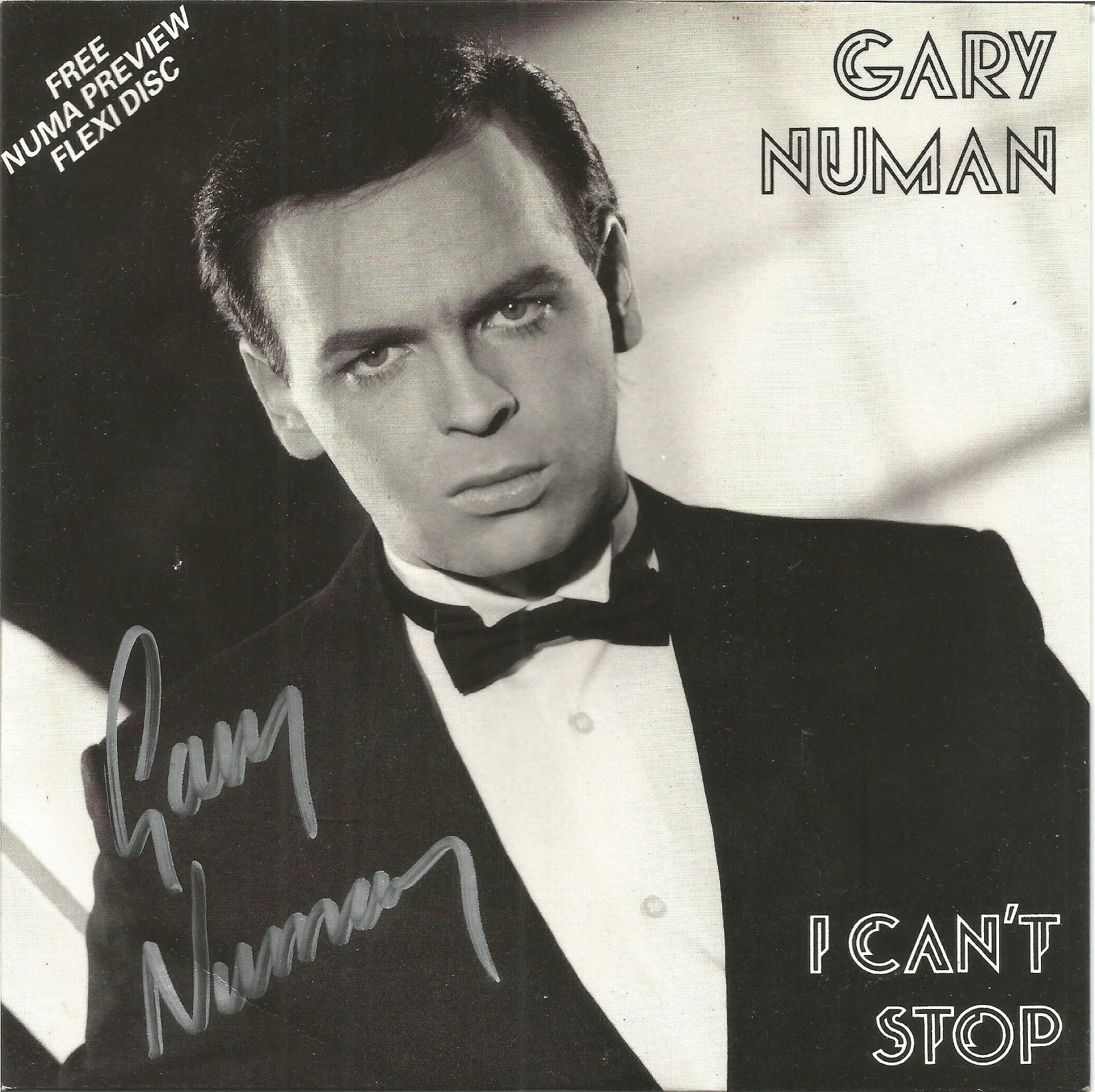 Gary Numan signed 45rpm record sleeve of I can't stop.