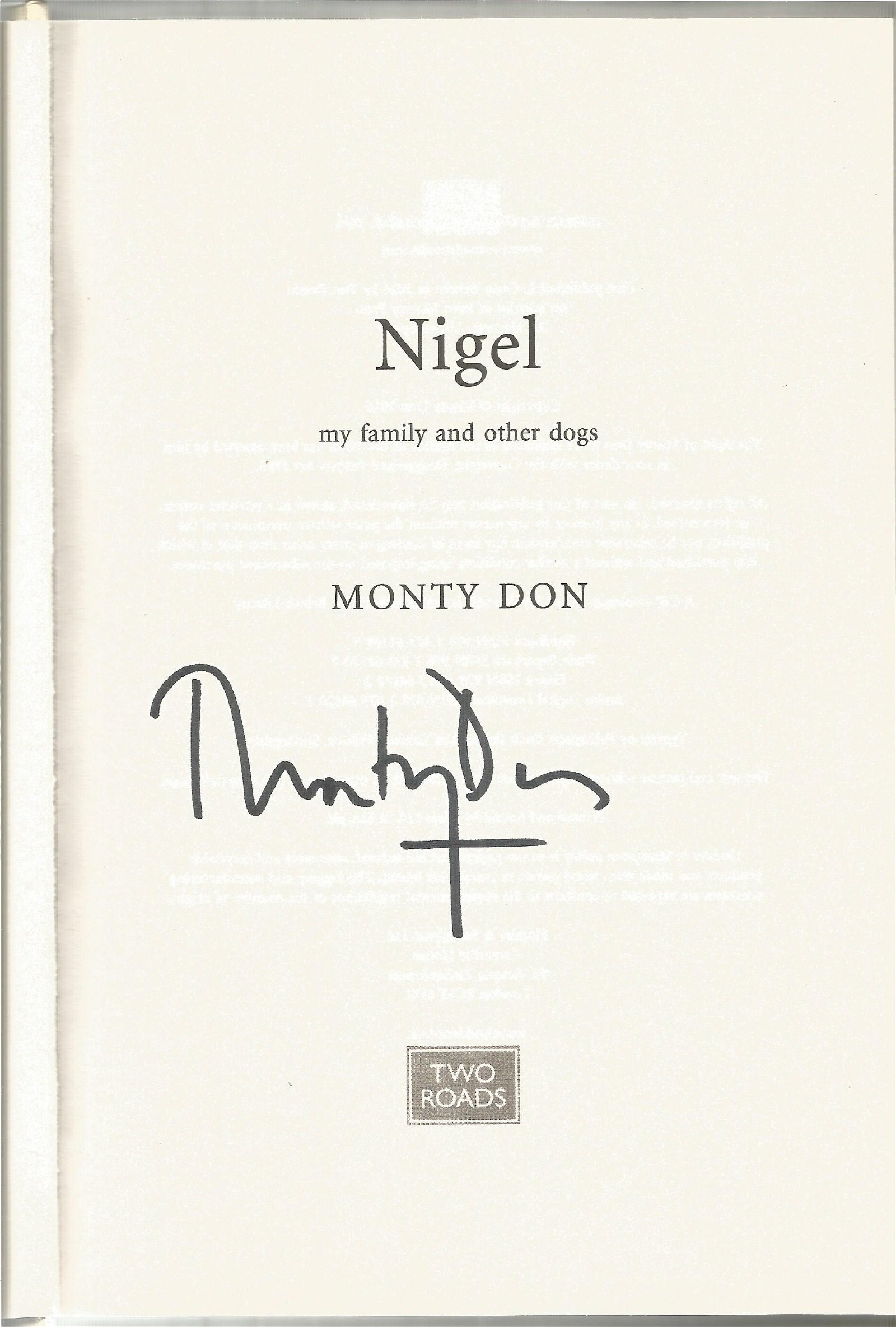 Monty Don hardback book titled Nigel My Family and