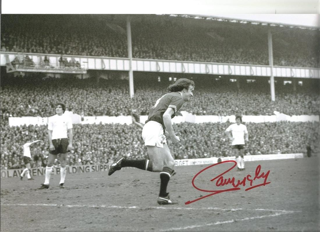 Sammy Mcilroy 12x8 Signed B/W Football Photo Pictured