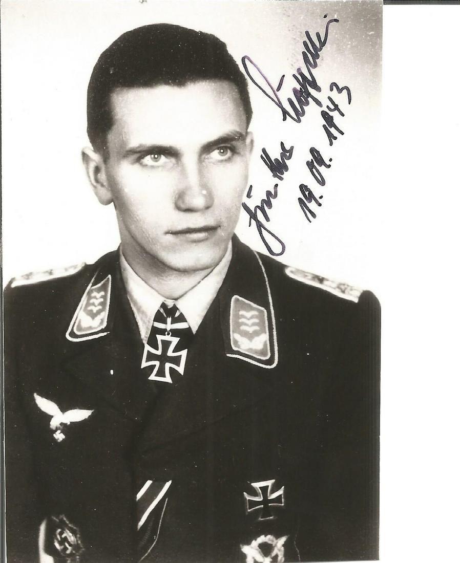 Gunther Loffelbein KC WW2 Luftwaffe ace signed 5x3