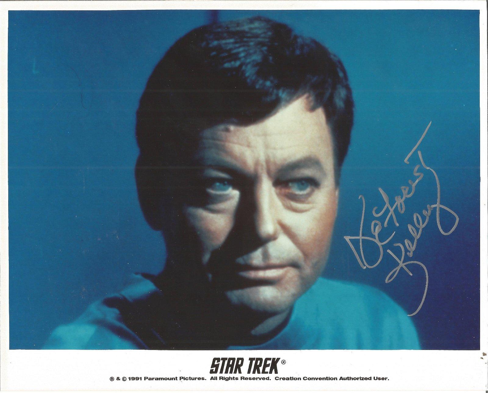 Deforest Kelly 10x8 signed Star Trek colour photo. Good