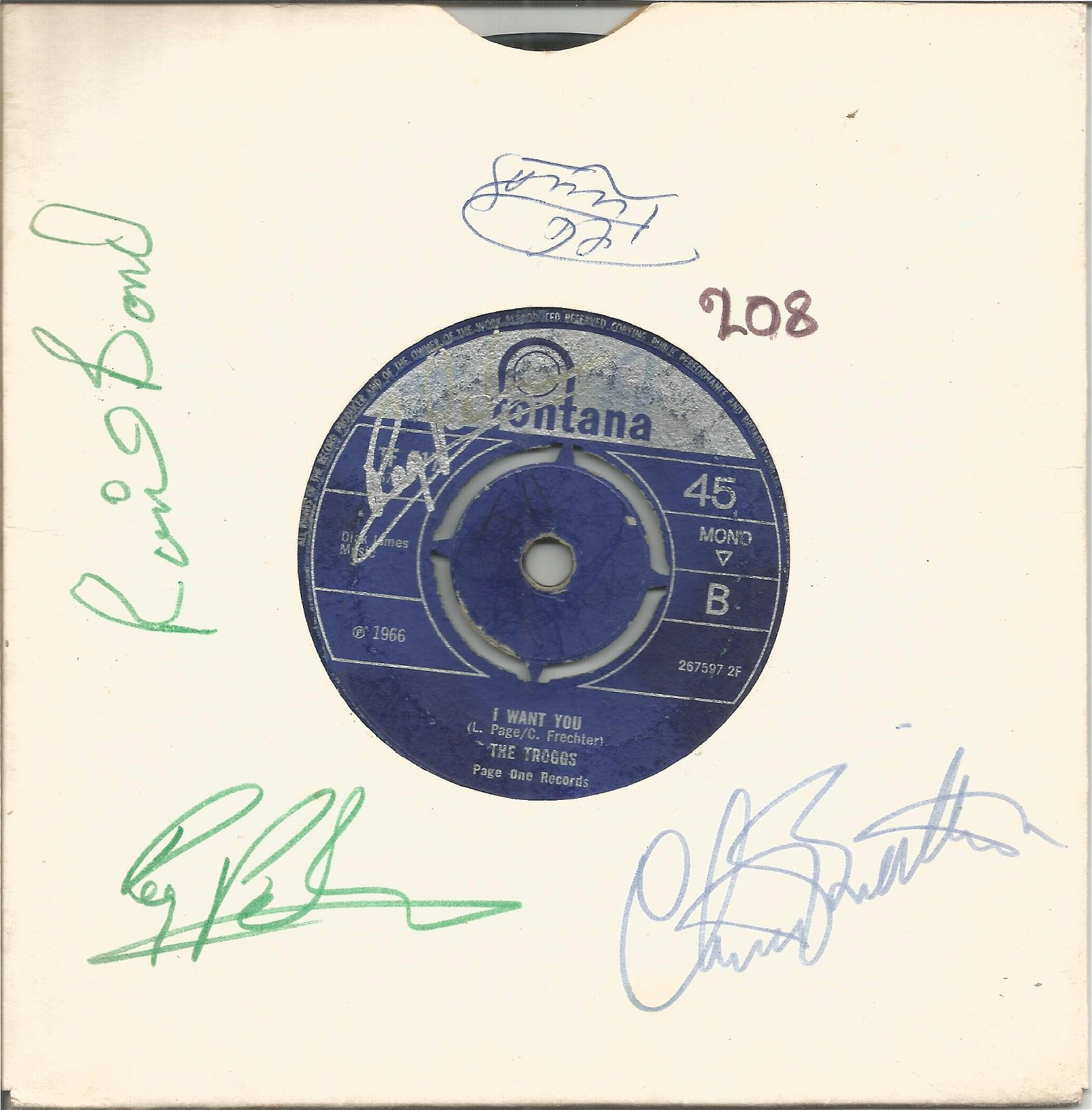 The Troggs signed 45rpm record sleeve with I Want you