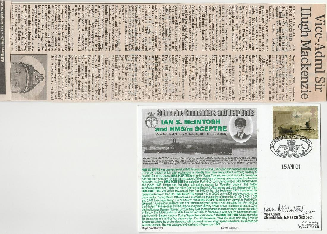 Obituary And R. N. Fdc Commemorating Hm Submarine