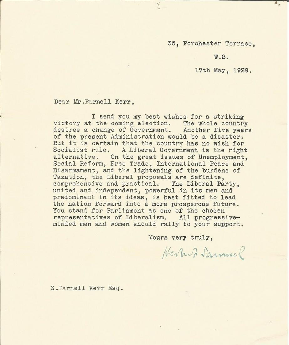 Herbert Samuel Liberal Leader typed signed letter 1929,