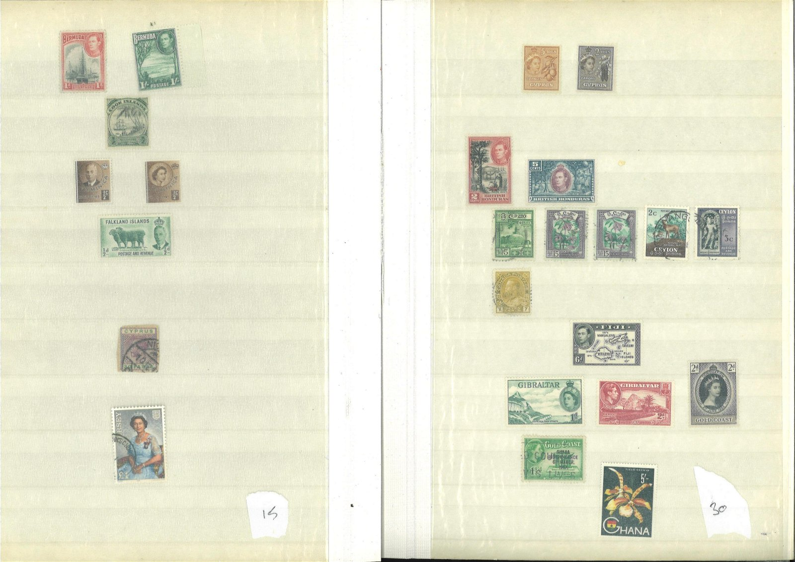 Large red stock book comprising of stamps from BCW,