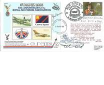 WW2 aces multiple signed 1993 75th ann RAF Stampex