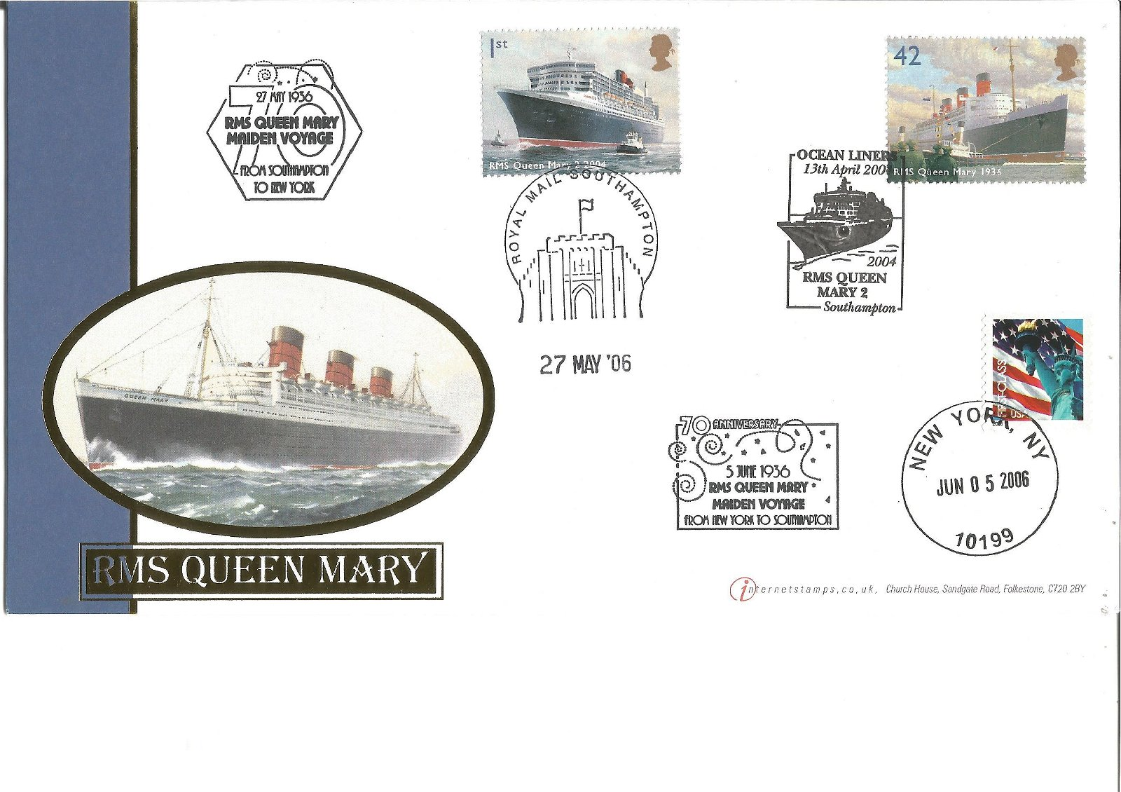 RMS Queen Mary 70th ann cover from Internetstamps 2006,