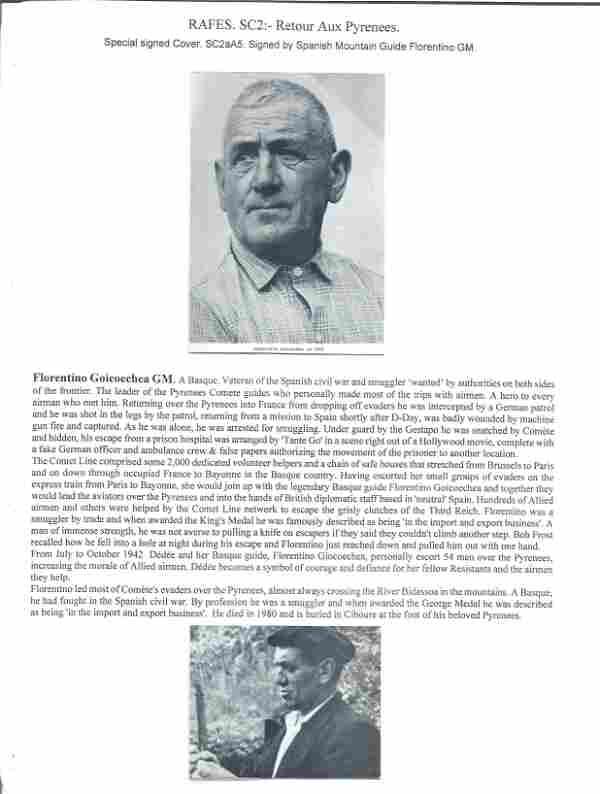 Florentino GM rare WW2 resistance leader signed Comete