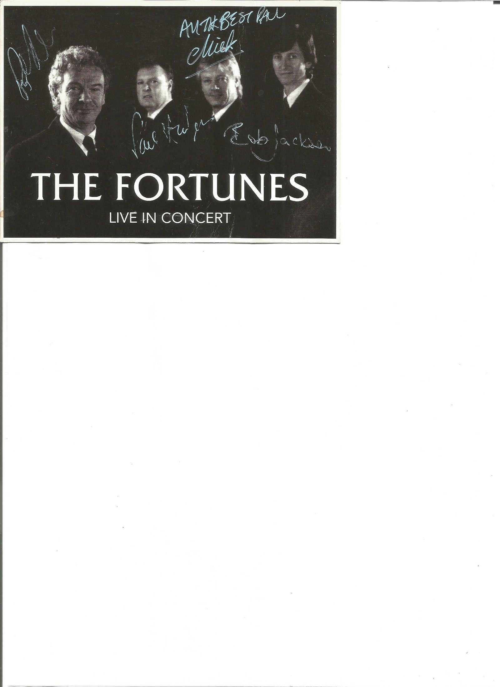 The Fortunes signed promotional card. Good Condition.