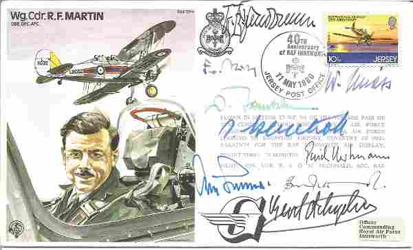Eight top WW2 Luftwaffe aces signed Wg Cdr Martin Test