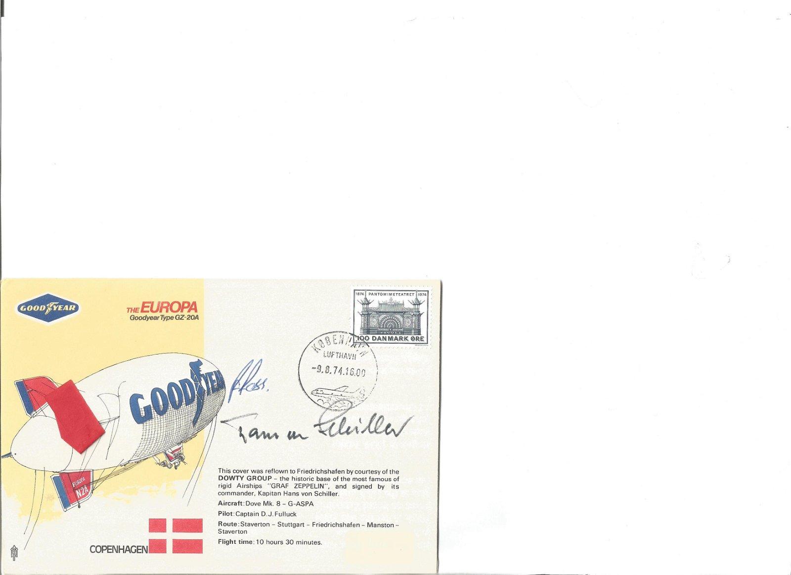 Zeppelin ace Hans Von Schiller signed Europa Airship