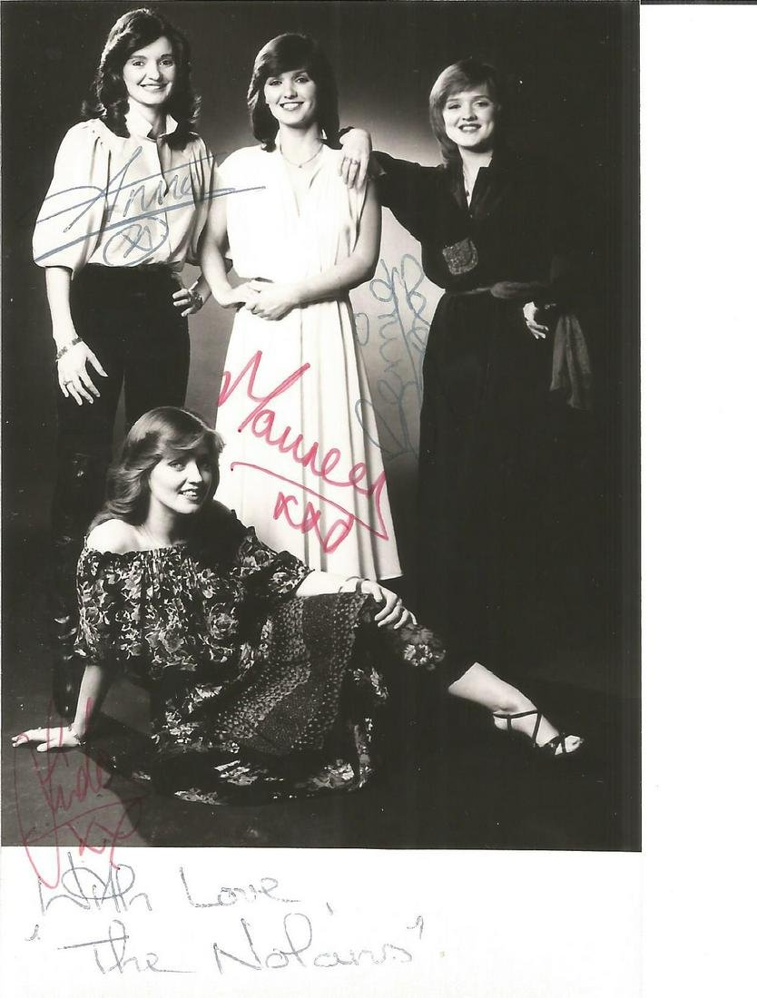 The Nolans signed 6x4 black and white photo. Good