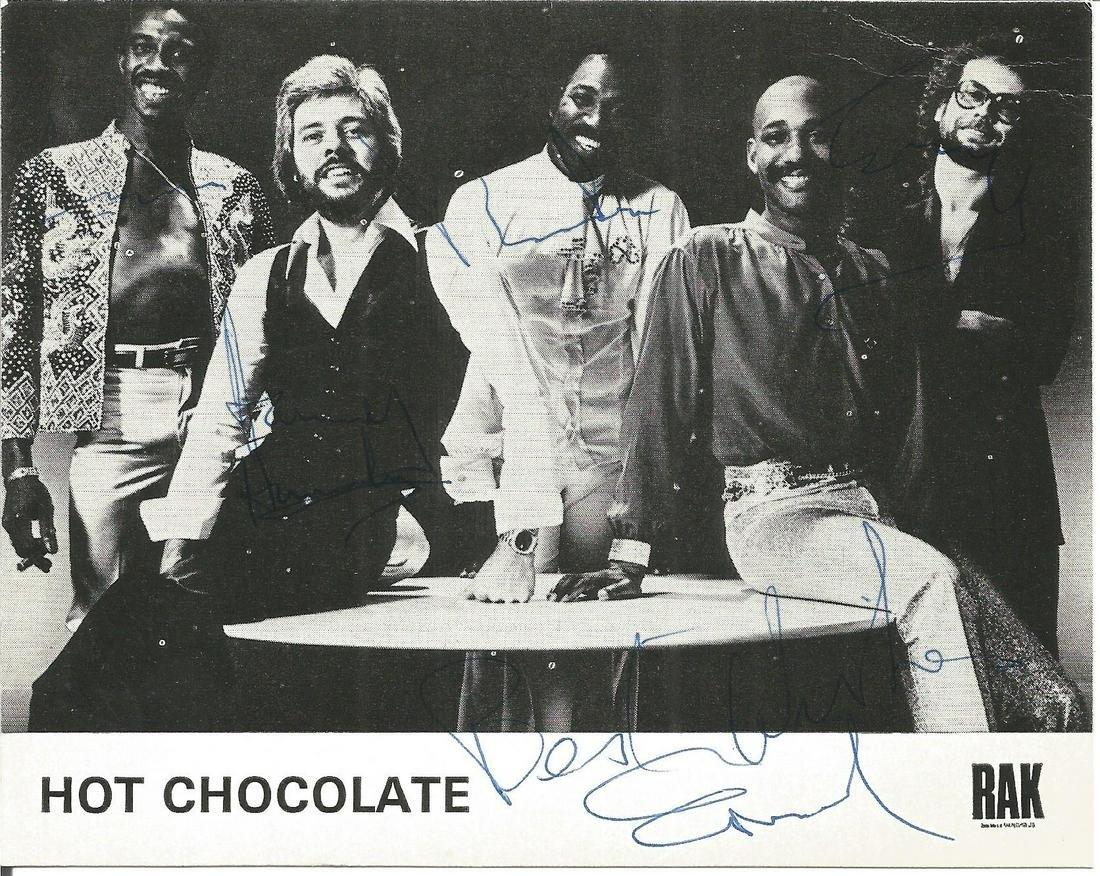 Hot Chocolate signed 6x4 black and white photo. Good