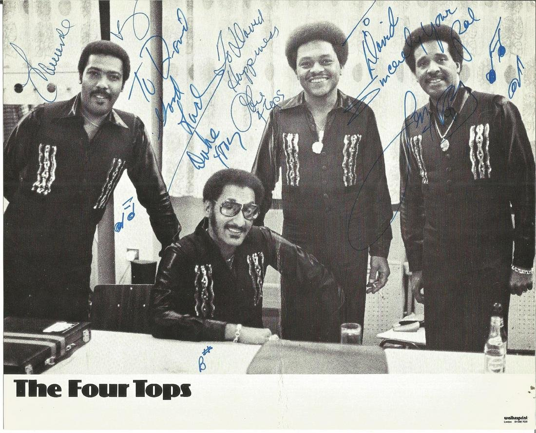 The Four Tops signed 10x8 black and white photo. vocal