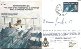 Norman Jackson VC signed bomber cover Commemorating