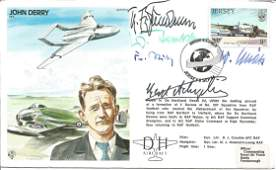 Luftwaffe aces WW2 multiple signed John Derry Test